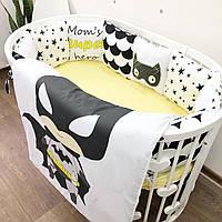 Бортики-подушечки, постель в детскую кроватку, комплект белья бортики + простынь + плед