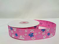 """Лента репсовая с рисунком 2,5см на метраж розовая """"Бабочки"""""""