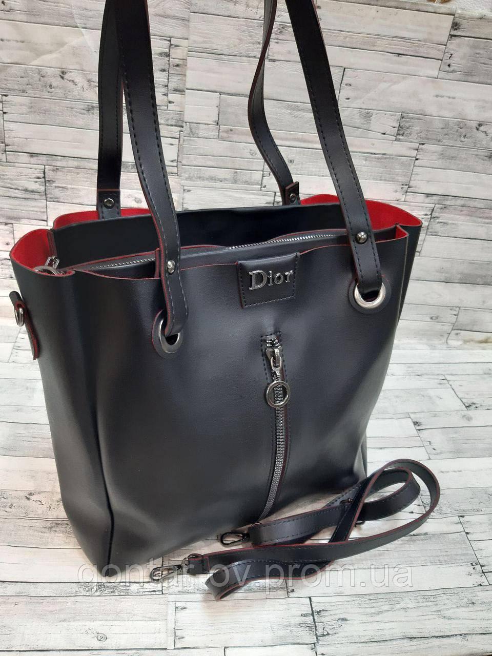 Чорна жіноча сумка Діор Dior з червоними зрізами