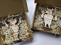 Символы 2021 - бычок и корова, двигающиеся фигурки, новогодние игрушки, подарок на новый год