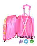 Детский пластиковый чемодан на четыре колеса с выдвижной ручкой Холодное сердце, ручная кладь 44/30/20 см, фото 2