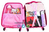 Детский пластиковый чемодан на четыре колеса с выдвижной ручкой Холодное сердце, ручная кладь 44/30/20 см, фото 5
