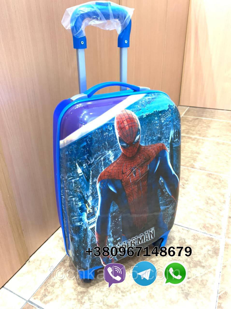 Детский чемодан с телескопической ручкой Человек паук для мальчика на подарок, ручная кладь 44/30/20 см