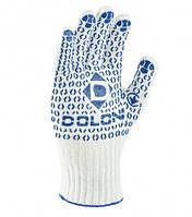Рукавички білі з ПВХ точкою меланж 520, фото 1