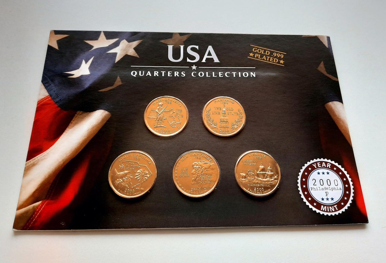 США 25 центов 2000 набор из 5 монет в позолоте 24 карата Р