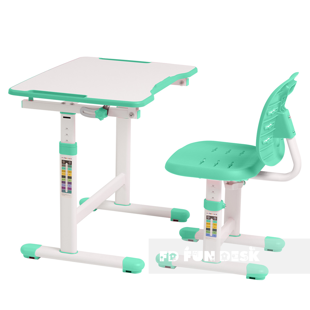 Комплект парта + стілець трансформери Omino Green FunDesk