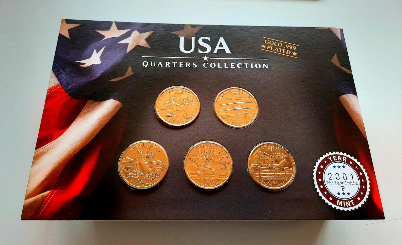 США 25 центов 2001 набор из 5 монет в позолоте 24 карата Р