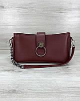 Бордовая женская сумка-клатч 63007 маленькая через плечо кросс боди, фото 1