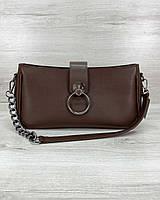 Коричневая маленькая женская сумка 63005 кросс-боди клатч через плечо, фото 1