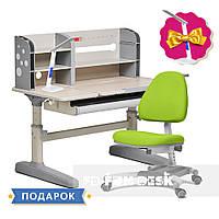 Комплект школьника 👨🏫  парта-трансформер Fundesk Amico Grey + подростковое кресло FunDesk Ottimo Green, фото 1