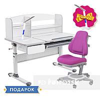 Комплект парта для школьников Cubby Rimu Grey + детское универсальное кресло FunDesk Bravo Purple, фото 1