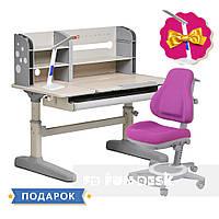 Комплект для подростка парта-трансформер Fundesk Amico Grey + ортопедическое кресло FunDesk Bravo Purple, фото 1