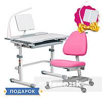 Комплект для девочки растущая парта Cubby Fressia Grey + кресло для дома FunDesk Ottimo Pink, фото 1