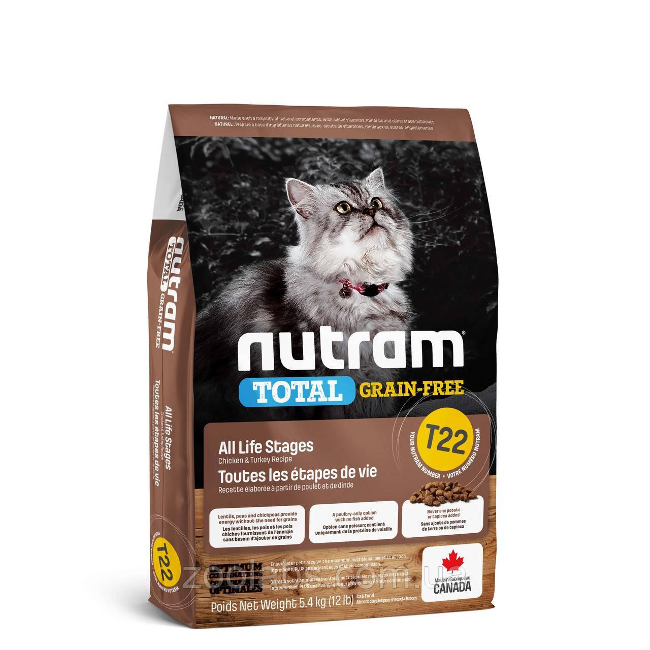 Корм Nutram для кошек   Nutram T22 Total Grain Free Turkey & Chiken Cat Food 20 кг