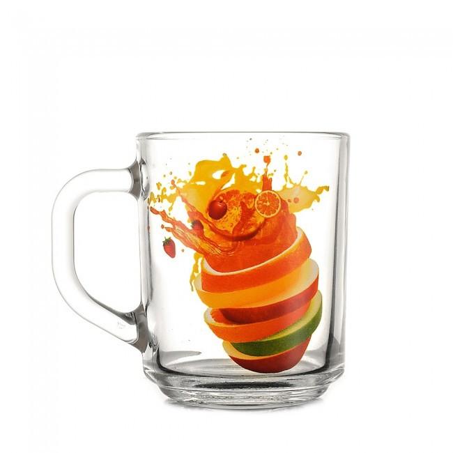 Чашка стеклянная с рисунком Фрукты 240 мл в ассортименте