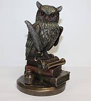 Статуэтка Сова на книгах с пером Veronese 23 см, символ мудрости, фото 1