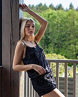 Пижама женская мраморный велюр V.VELIKA black (майка+шорты) М