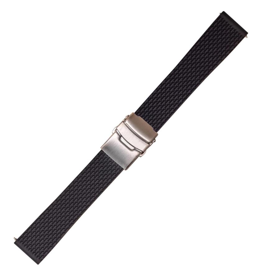 Каучуковый ремешок для часов. Черный. 22 мм