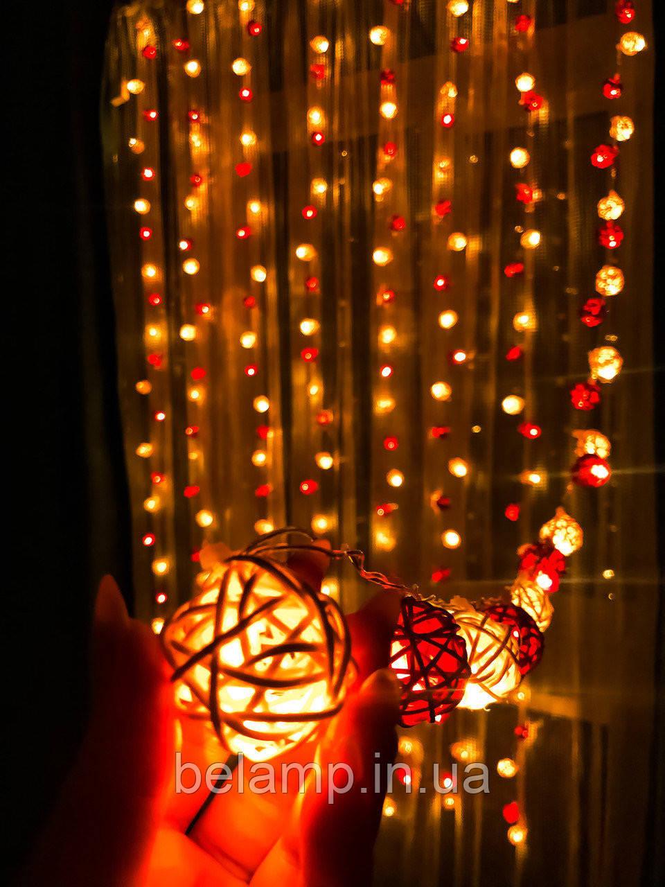 Новорічна гірлянда штора на вікні «Дует»