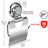 Держатель для туалетной бумаги Tatkraft Megalock металлический с вакуумной присоской  13х19.5х3 см (11458), фото 2