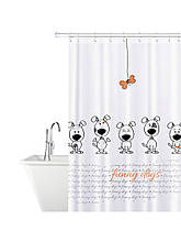 Шторка для душа Tatkraft Funny Dogs тканинна водонепроникна з кільцями 12шт 180X180 см (18136)
