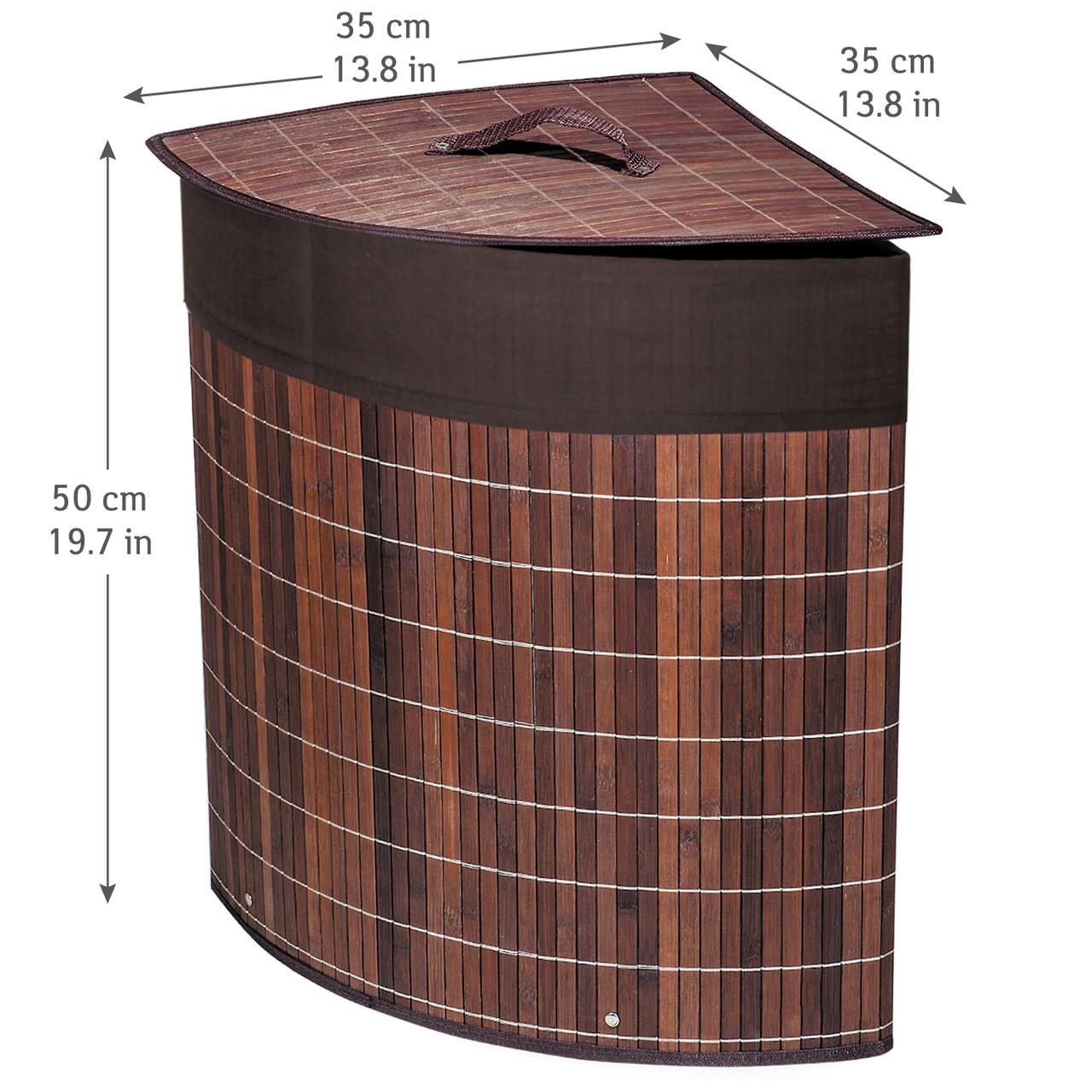 Корзина для белья Tatkraft ATHENA угловая с съемным хлопковым мешком коричневая бамбук 48л 35x35x50 см (11250)