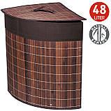 Корзина для белья Tatkraft ATHENA угловая с съемным хлопковым мешком коричневая бамбук 48л 35x35x50 см (11250), фото 2