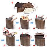 Корзина для белья Tatkraft ATHENA угловая с съемным хлопковым мешком коричневая бамбук 48л 35x35x50 см (11250), фото 6