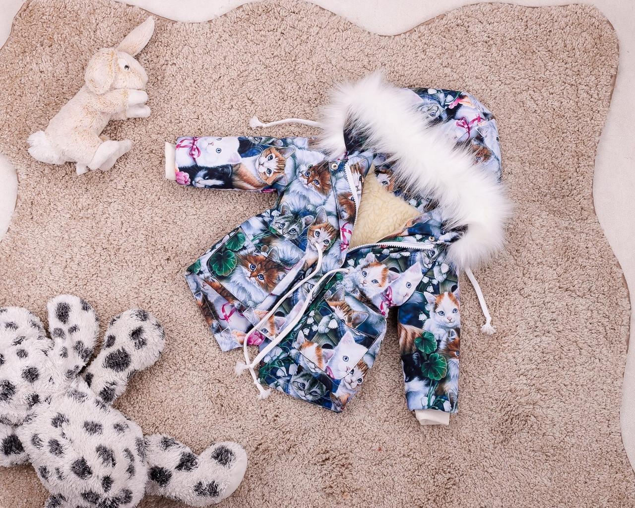 Детская зимняя парка для девочек с принтом котов 80-146 р