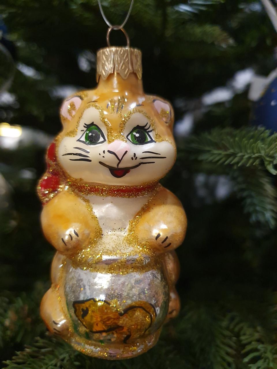 """Новогодняя игрушка на Елку """"Котик с аквариумом"""""""