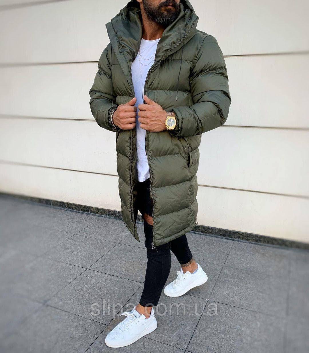 Мужская удлинённая зимняя куртка (Холлофайбер) хаки