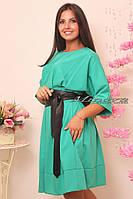 """Женское стильное платье с кожаным поясом """"Кристина"""" т. стрейч-коттон / норма и батал / ментол"""