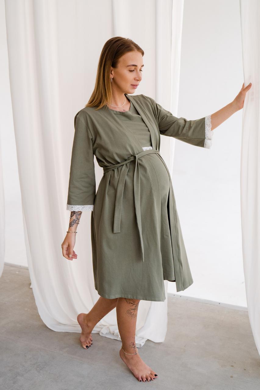 Халат для вагітних хакі To Be (42-50) 3057041