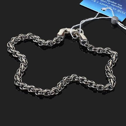 Срібний браслет, 185мм, 9 грам, плетіння Струмок, фото 2