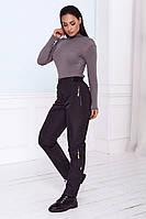 Черные женские штаны на флисе больших размеров, фото 1
