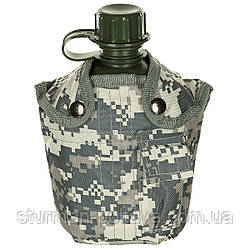 Фляга армейская пластиковая  на 1 литр  с термочехлом AT-digital  MFH Германия