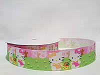 """Репс лента на метраж с рисунком 2,5см  """"Hello Kitty"""" в саду"""