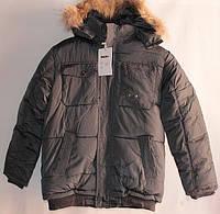 Куртка подростковая зимняя 140-158 коричневая, фото 1