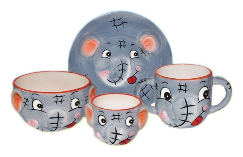 Детская посуда Helfer Слоненок 24-197-003 4 предмета