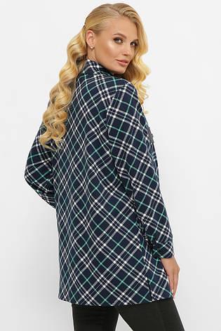 Жіноча сорочка в клітку великих розмірів з байки темно-синя, фото 2