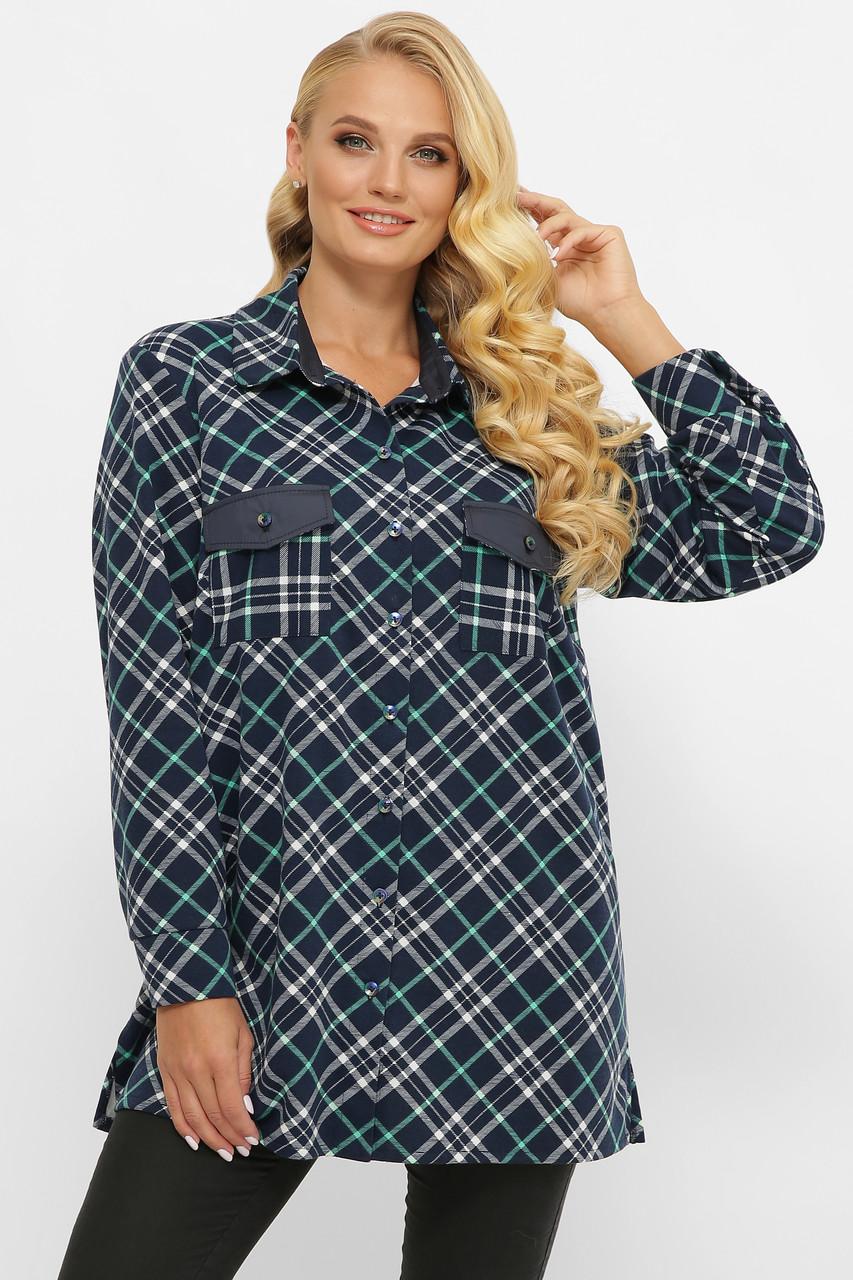 Женская рубашка в клетку больших размеров из байки темно-синяя