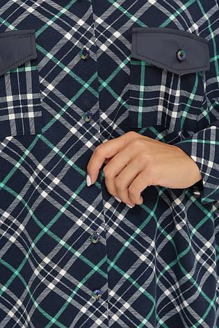 Женская рубашка в клетку больших размеров из байки темно-синяя, фото 2