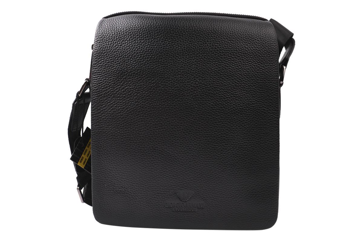 Стильная мужская сумка из натуральной кожи, цвет черный