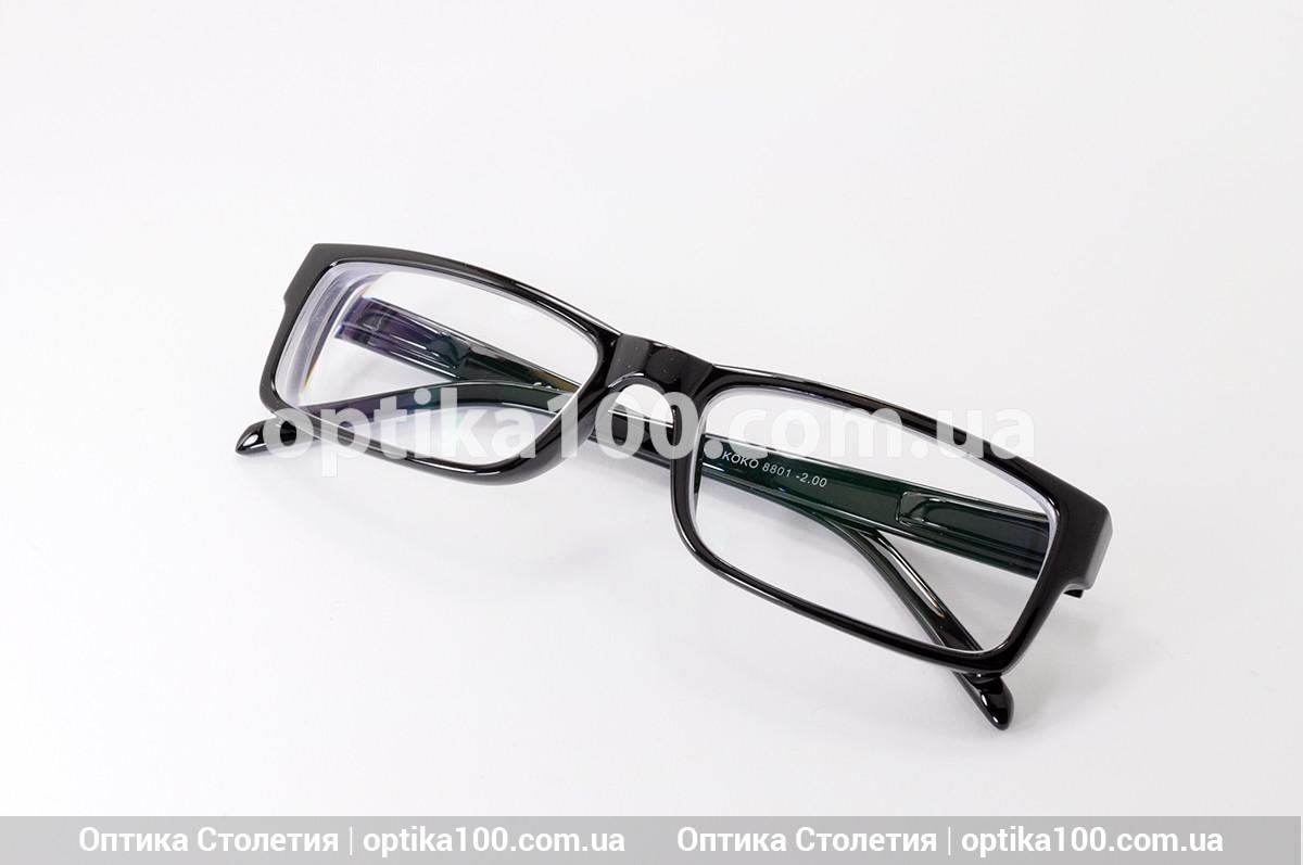 Пластиковые черные очки для зрения на заказ по рецепту. Корейские линзы с антибликом