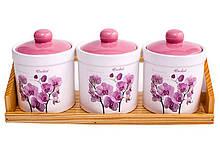 Набір банок для зберігання Interos Орхідея рожева ZFC-048-OP 3 шт