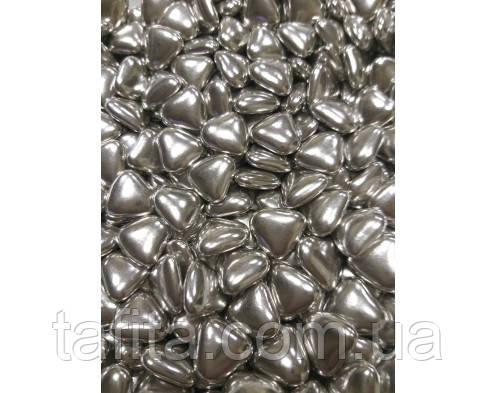 Сердца шоколадные серебро 10 шт