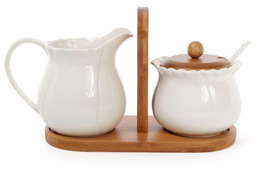 Набор сахарница и молочника на бамбуковой подставке Naturel BonaDi 375-338