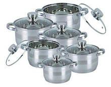 Набір кухонного посуду із нержавіючої сталі 12 предметів Bohmann BH-1275-N