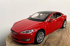 Модель автомобиля Tesla X90 1:32. Металлическая машинка, инерционная машинка Тесла Красная, фото 2