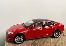 Модель автомобиля Tesla X90 1:32. Металлическая машинка, инерционная машинка Тесла Красная, фото 3